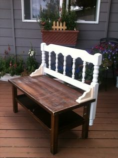 old coffee table + vintage old headboard; add some shelf supports to create a garden Bench; paint same color.