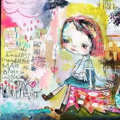 **Emelie, read other pin by this artist**Small Creatures - mixed media art print by Mindy Lacefield Kunstjournal Inspiration, Art Journal Inspiration, Art And Illustration, Art Journal Pages, Art Journals, Mixed Media Artists, People Art, Whimsical Art, Collage Art
