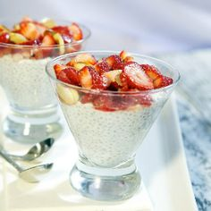 Healthy pudding with a hint of coconut and almond - with chia seeds as the thickener.