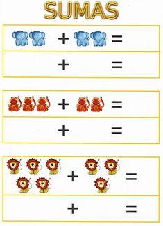 Kindergarten Addition Worksheets, Kindergarten Math Worksheets, Preschool Printables, Preschool Math, Preschool Worksheets, Teaching Math, In Kindergarten, Math Games, Learning Activities