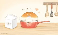 Cute Food Drawings, Cute Kawaii Drawings, Kawaii Art, Kawaii Chibi, Cute Food Wallpaper, Kawaii Wallpaper, Phone Wallpaper Images, Dog Bread, Bread Art