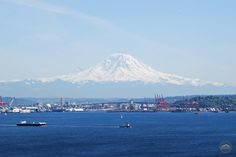 A view of Mt. Rainier from Magnolia Boulevard on a beautiful day in Seattle.