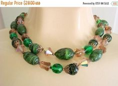 SALE Vintage West Germany Green Art Glass Bead Necklace /