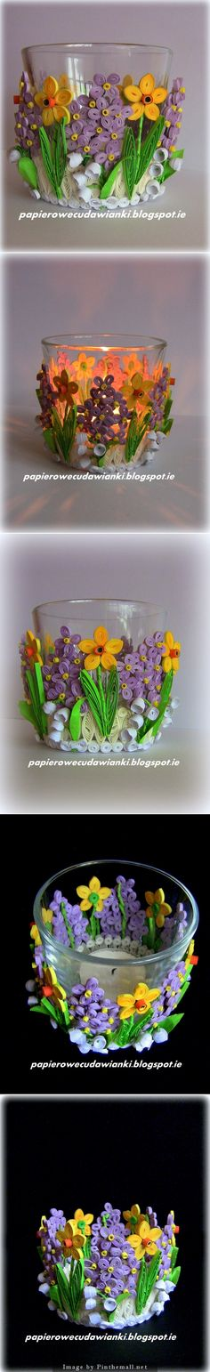 TEA CANDLE GLASS QUILLED http://papierowecudawianki.blogspot.ie/2014/03/quilling-swiecznikalbo-osonka-na.html - created via http://pinthemall.net