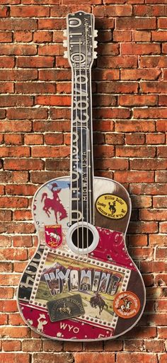 "Carol Braden ""Wyoming Road Trip"" Guitar Sculpture  www.maverickstyle.net"