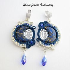 Soutache earrings blue Moon. Elegant chic earrings of the soutache Jewelry collection. Colorful earrings in a starry Silver Sky frame by the blue moon. Italian Jewelry whit handmade polymer Clay cabochon And multicolor Crystal chain