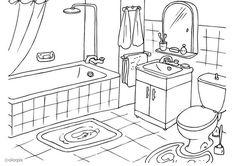 salle de bain la salle de bain un tapis la douche un baignoire un lavabo une toilette une glace une serviette le savon House Colouring Pages, Coloring Book Pages, Free Coloring Sheets, Adult Coloring, Coloring Pictures For Kids, Interior Design Sketches, Bathroom Pictures, Paper Houses, Bathroom Cleaning