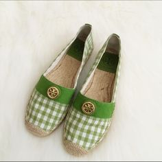 Tory Burch espadrille flat Brand  new, never worn! Adorable green & white checkered print. Gold hardware. Price is firm. No box. Tory Burch Shoes Espadrilles
