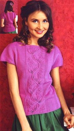 Knitted blouse with Lily pattern