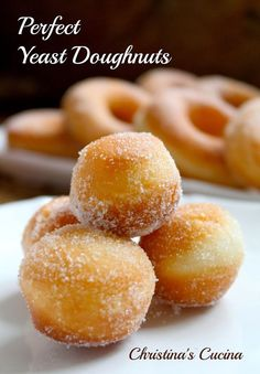 Christina's Cucina: Perfect Yeast Doughnuts...Sugar, and Filled (with Jam, Nutella or Cream)