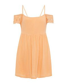 Peach Embroidered Trim Cold Shoulder Smock Dress  | New Look