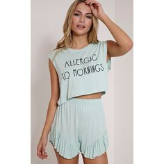 Allergic To Mornings Mint Frill Short Pyjama Set ($10) ❤ liked on Polyvore featuring intimates, sleepwear, pajamas, green, short sleepwear, green pajamas, short pajama set, short pjs and short pajamas