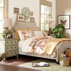 Anastasia Duvet Cover Set | Refresh your master suite or guest room with this elegant duvet cover set, showcasing a floral motif for eye-catching style.