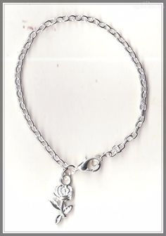 Rose Flower Charm Silver Plated Bracelet/Anklet(18cm)  by MadAboutIncense - $7.50