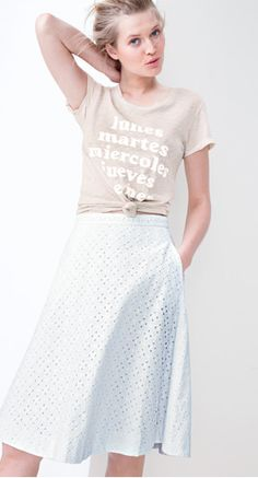 white eyelet with graphic tee...yes!  I think the tee is  j crew