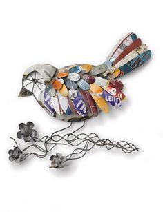 Recycled Metal Bird Wall Art