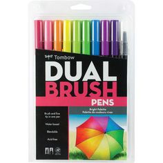 These ever-popular double-headed, flexible nylon fiber brush pens have a single ink reservoir and two tips - one brush tip and one fine tip. The water-based ink is acid-free, non-toxic and blendable, allowing for an endless palette of colors. Brights: blender, chartreuse, hot pink, imperial purple, orange, process yellow, purple, reflex blue, rubine red and willow green