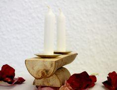 Kerzenständer Holz, Kerzenhalter, Naturholz, klein von SchlueterKunstundDesign - Wohnzubehör, Unikate, Treibholzobjekte, Modeschmuck aus Treibholz auf DaWanda.com