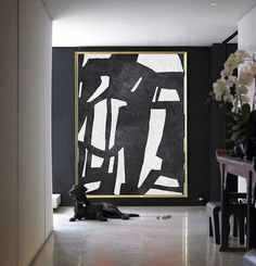 Large Abstract Painting On Canvas, Minimalist Canvas Art, Handmade Black White Acrylic Textured Painting.