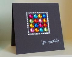 card square with rhinestone glitter - You Sparkle