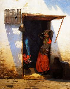 Jean-Léon Gérôme (Fench , 1824 – 1904)  –  Woman from Cario at her Door