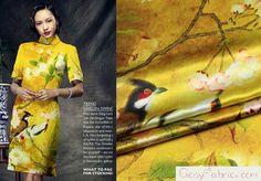 Elastano Cetim Tecido de seda às Aves e flores by CosyFabric