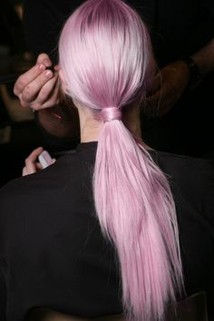 Pink hair. Love this dusty, pastel color.