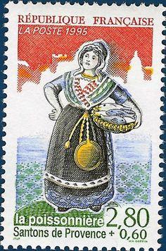 La Poissonniere - The Fisherwoman.  Santon postage stamp.  Pinned by www.mygrowingtraditions.com