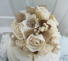 Sola & Burlap Rustic Fall Wedding Cake Topper with matching pick, done in burlap and sola flowers. Ready to Ship!