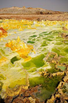 Acid lakes at the Dallol Volcano in Danakil Desert, Ethiopia | Photo by Pascal Boegli | http://en.wikipedia.org/wiki/Dallol_(volcano)