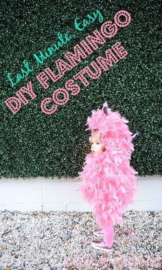 Last minute, easy DIY pink flamingo Halloween costume! Perfect baby costume or toddler costume for your little girl!