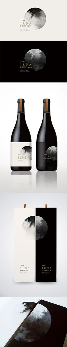 Luna on Behance. - a grouped images picture - Pin Them All Cool Packaging, Beverage Packaging, Bottle Packaging, Brand Packaging, Packaging Design, Branding Design, Wine Bottle Design, Wine Label Design, Wine Bottle Labels