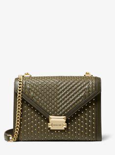 20684e398d73 Whitney Large Studded Leather Convertible Shoulder Bag - Green - Michael  Kors Shoulder bags