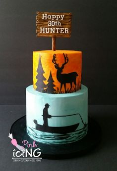 Hunting Fishing themed cake Pink Icing LLC