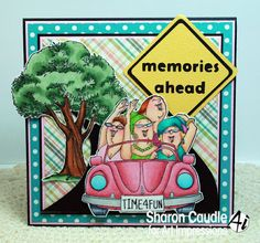 Art Impressions Rubber Stamps: Shoppers Set of 3 and Giant Oak Tree: Fronts and Backs, Ai Girlfriends ... handmade card.  VW, punch bug, beetle, Volkswagon, road trip, GNO, girls night out
