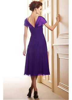 Glamourous Silk Like Chiffon A-line V-neck  Neckline Tea-Length Mother of the Bride Dress in Fashion