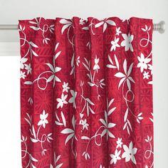 Retro Hawaii Curtain Panel - Christmas Tiki by kadyson - Poinsettia Floral Red Christmas Winter Isl Curtain Panels, Panel Curtains, Modern Placemats, Victorian Gardens, Custom Curtains, Rod Pocket, Poinsettia, Red Christmas, Basket Weaving