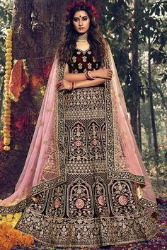 Dark Maroon velvet semi stitch lehenga with velvet choli. This lehenga choli is embellished with resham, zari, stone and dori work. Product are available in 32 to 58 sizes. It is perfect for Bridal Wear. #dark maroon #bridal #lehanga #choli# Andaazfashion #USA Designer Bridal Lehenga, Bridal Lehenga Choli, Indian Lehenga, Wedding Sarees, Bollywood Lehenga, Lehenga Choli Online, Bridal Outfits, Party Outfits, Party Dresses