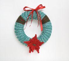 Christmas wreath Christmas yarn wreath by DanielandCrochet on Etsy