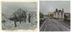 Caen, rue d'Halène au Nord du château de Caen: A gauche le Lieut.Gen. John Tredinnick Crocker, commandant du I Corps. #NORMANDIA1944