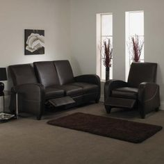 Available as a suite made up of a 3 seat reclining sofa and 2 reclining chairs. Available in Black, Brown and White.