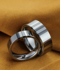 Couple's White & Black Ceramic Stripes Inlay High Polished Tungsten Ring Set| Tungsten Carbide Rings 24HOUR SHIPPING