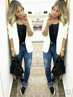 casual outfit tips and guide Blazer Outfits, Casual Outfits, Cute Outfits, Womens Fashion Online, Latest Fashion For Women, Look Fashion, Fashion Outfits, Blazer Fashion, Fashion Boots