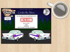 Digital Download Drive Ins, Cinema, Movies, Movie, Kids, Adults, Customisable, Birthday Invitation, Under the Stars, 50s, 60s 70s Hollywood by DesignsByMoniqueAU on Etsy