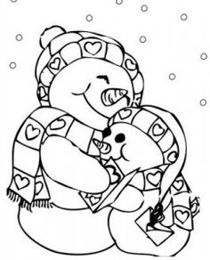 cuddle snowmen print and color valentines day pictures coloring