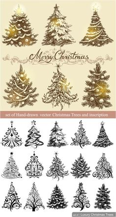 Decorative Christmas trees vector