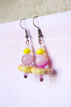 yellow pink earring dangle ceramic earrings bright by chezviolette