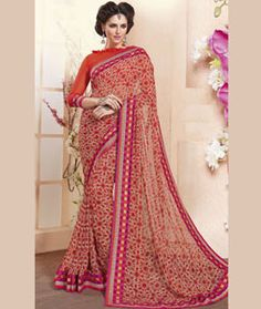 Buy Red Georgette Printed Saree With Blouse 75050 with blouse online at lowest…