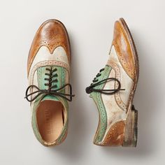 """CHANNING OXFORD SHOES -- Hand finished with a wash of color, these Oxfords take a post-modern spin on a classic look. Each pair varies slightly due to their handmade nature. Imported. Whole and half sizes 6 to 10, 11. 1"""" heel. (In 5 colors and color combinations. jhughes2020)"""