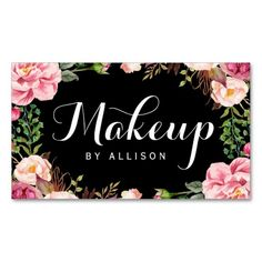 Makeup Artist Modern Script Girly Floral Wrapping Double-Sided Standard Business Cards (Pack Of 100)